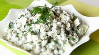 салат с курицей и грибами осень очень сытный без майонеза